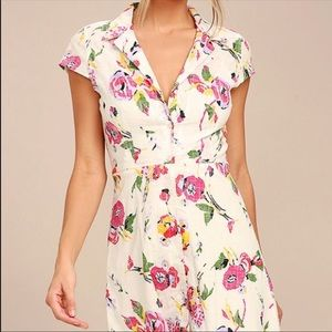 Obey Desi Cream Floral Print Shirt Dress Size S